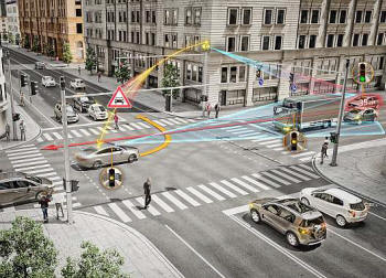 Continental V2X technology for intersections: detecting a still unseen vehicle, approaching from the side of a lorry